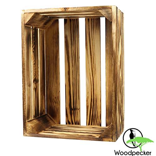 Woodpecker Holzkiste Vintage 39x29x19 cm geflammt und robust- Apfelkiste, Weinkiste, Deko-kiste, Aufbewahrungskiste, Obstkiste