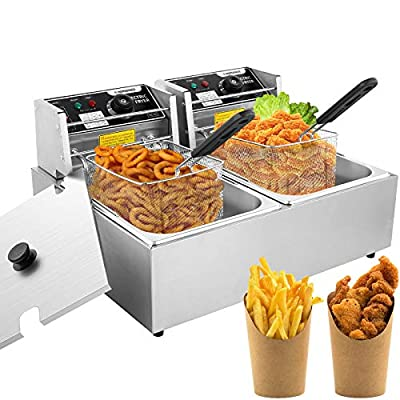 Professional-style Deep Fryer with Dual Baskets, 3600W 2x6L Stainless Steel Electric Commercial Deep Fryers for Turkey French Fries Home Kitchen Restaurant, Total Capacity 12.7QT/12L (12L)