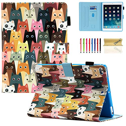 Dteck iPad Mini Case, iPad Mini 1 2 3 4 5 Case, Slim Fit Folio Kickstand Auto Sleep Wake Pencil Holder Shockproof Smart Case Cover for Apple iPad Mini 5/ Mini 4/ Mini 3/ Mini 2, Colorful Cats