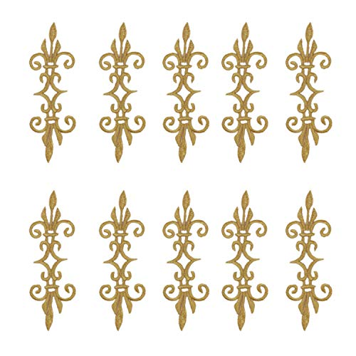 10 Pcs/Lot Iron on Embroidered Appliqued Flower Costume Patches Gold and Silver Trims 17.56cm DIY (Gold)