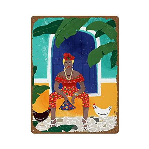 Femme Au Cigare En Art Print Vrouwelijke Cuba Havana Reizen Cigare Geweldige Gift Vrouwen Sterke Meisje Meisje Boss TurquoiseNovelty 30 X 40 cm Tin Sign Metalen Poster Muur Grappige Man Grot Cool Muur Deur Sign