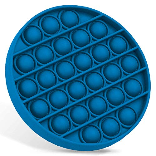 Push Bubbles Pop Fidget Sensory Toy,a Loud Side and a Quiet Side to Pop, Autism ADHD Special Needs Stress Reliever Silicone Squeeze Toy, a Great Way to Relax and Keep Busy for Kids and Adults - Blue