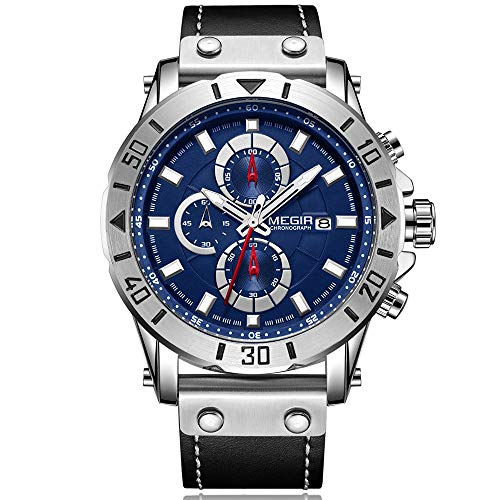 MEGIR Orologio da polso da uomo, di lusso, nero, cinturino in pelle, quadrante blu, militare, con cronografo, calendario, impermeabile e luminoso