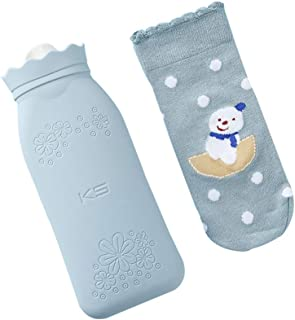 HOPAS Microwave Heating Bottle Environmental Silicone Transparent Hot Water Bag with Knit Cover, Hot & Cold Therapies - Bi...