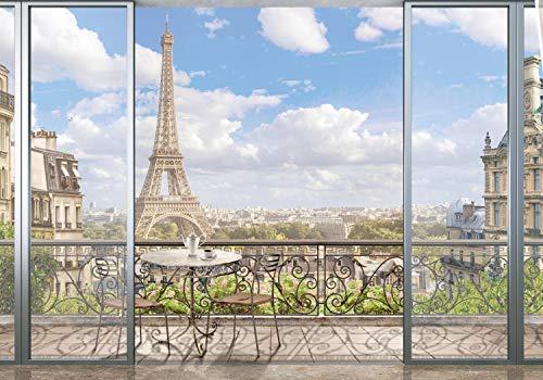 wandmotiv24 Fototapete Aussicht Balkon Paris, XL 350 x 245 cm - 7 Teile, Fototapeten, Wandbild, Motivtapeten, Vlies-Tapeten, Stadt, Eiffelturm, Frankreich M1216