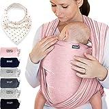 Makimaja - Écharpe de portage 100% coton - rose - porte-bébé de haute qualité pour nouveau-nés et bébés jusqu'à 15 kg - incl. sac de rangement et bavoir bébé