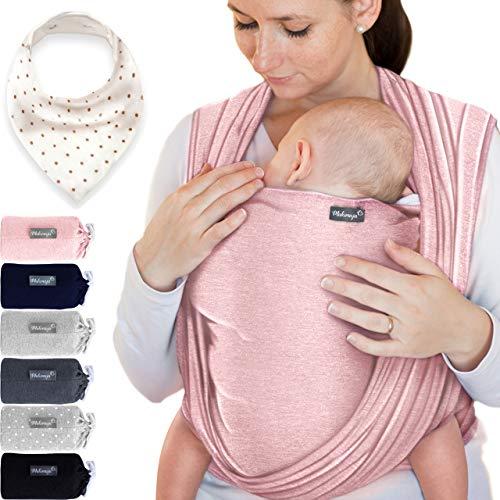 Babytragetuch aus 100% Baumwolle - Rosa – hochwertiges Baby-Tragetuch für Neugeborene und Babys bis 15 kg – inkl. Aufbewahrungsbeutel und GRATIS Baby-Lätzchen – liebevolles Design von Makimaja®