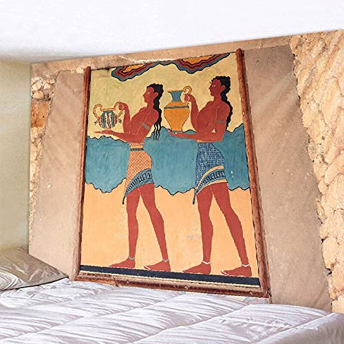 KHKJ Amarillo Antiguo Egipcio Retro Tapiz Tapiz Colgante de Pared Cultura Antigua Impreso Hippie Tapiz Egipcio Paño de Pared Hogar A3 200x150cm