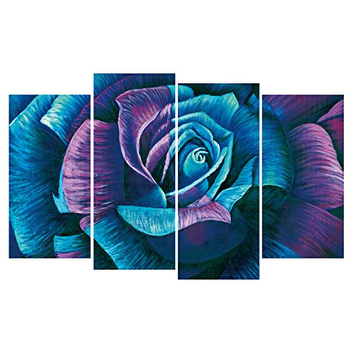 GEVES 4 Panels Teal Purple Rose Wall Art Paintings Giclee Art Prints Canvas Painting for Living Room Home Decor Elegant Pictures Framed Ready to Hang