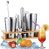 Juego de 11 cocteleras con soporte, kit perfecto para el hogar con coctelera, mortero, jigger, colador, recetas y más.