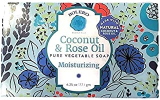 Bolero Coconut and Rose Oil Moisturizing Soap All-Natural Bath Bar | 4-Pack Spa Room Decor Decorations