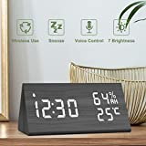 NBPOWER Wecker Digitaler LED Wecker Uhr Holz,Digitalwecker Tischuhr mit Sprachsteuerung/Snooze...