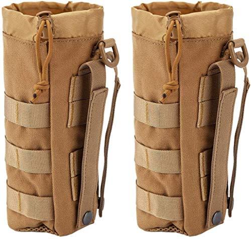 Dyna-Living - 2 unidades tácticas portabotellas militar, botella, para exterior, senderismo, camping, trekking, nailon 1000D, marrón