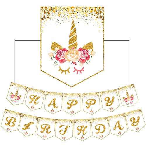 Unicorn Happy Birthday Banner Bunting Garland for Baby Shower Decorations Favors Girls Party Supplies