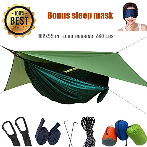Camping Hammock with Mosquito Net and Rain Fly - Travel Hammock Bug Net - Hammock Tent for Outdoor Hiking Backpacking Travel Camping Accessories and Camping Gear (Army Green)