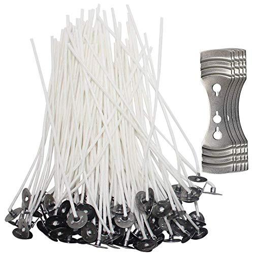 SENHAI - 200 stoppini per candele con 5 supporti di centraggio, stoppini in cotone pre-cerato da 12 cm con supporti metallici per la realizzazione di
