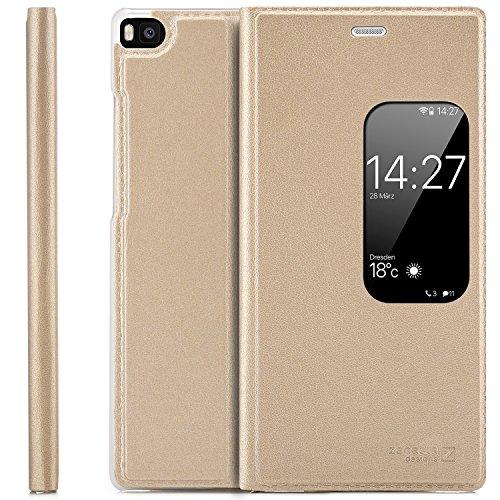 Preisvergleich Produktbild zanasta Tasche kompatibel mit Huawei P8 Case Schutzhülle Flip View Cover mit Fenster und Kameraschutz / Gold