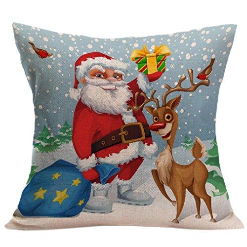 Kissenbezug Kolylong® 45cm x 45cm Weihnachten drucken für Dekoration Festival Sofa Bett Heimtextilien Home Decor Kissen Kissenbezug Pillowcase (C)