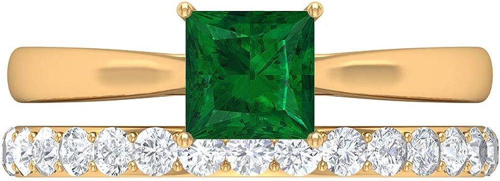 Spring new Atlanta Mall work Bridal Ring Set Emerald Engagement Moissanite Ban Wedding