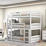 Bed, Bunk Beds for Kids, Solid Wood Twin Triple Bunk Beds / Loft Bed for Kids/Adults, No Box Spring Needed