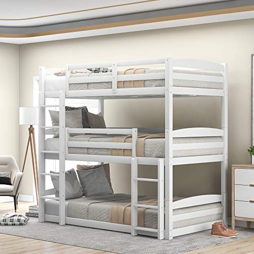 Bed, Bunk Beds for Kids, Solid Wood Twin Triple Bunk Beds / Loft Bed for Kids/Adults, No Box Spring...