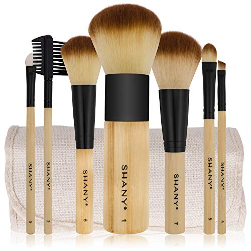 SHANY Bamboo Makeup Brush Set - Vegan Brushes With Premium Synthetic Hair & Cotton Pouch - 7pc