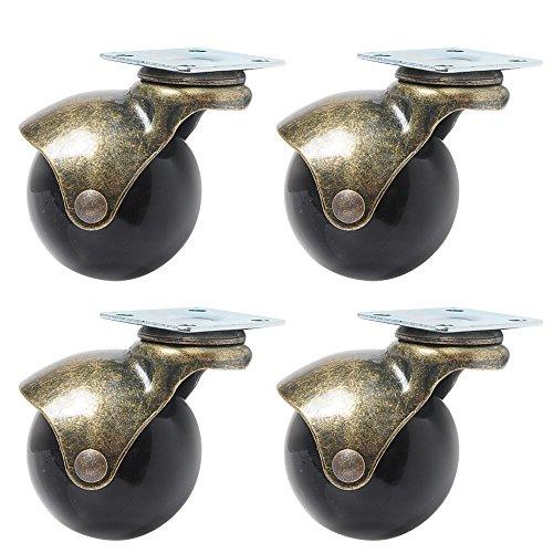 Aisaving Lenkrollen, drehbar, 360 Grad drehbare Kugelrollen, Oberplatte mit Kapuze, Möbelrolle, 4 Stück (Ball Caster, 2