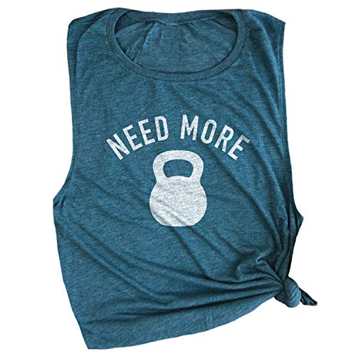 Spunky Pineapple Need More Kettle Bell Workout Gym Top Shirt for Women Deep Teal