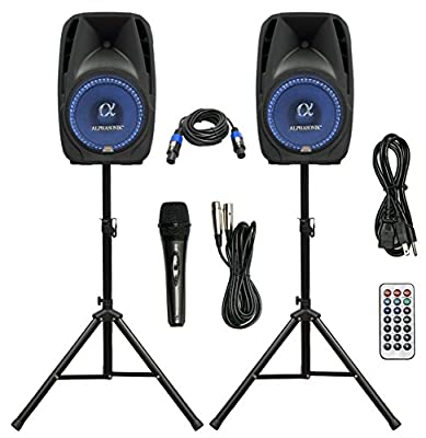 "Pair Alphasonik All-in-one 15"" Powered 2500W PRO DJ Amplified Loud Speakers with Bluetooth USB SD Card AUX MP3 FM Radio PA System LED Lights Karaoke Mic Guitar Amp 2 Tripod Stands Cable and Microphone from Alphasonik"