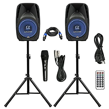 Pair Alphasonik All-in-one 15  Powered 2500W PRO DJ Amplified Loud Speakers with Bluetooth USB SD Card AUX MP3 FM Radio PA System LED Lights Karaoke Mic Guitar Amp 2 Tripod Stands Cable and Microphone