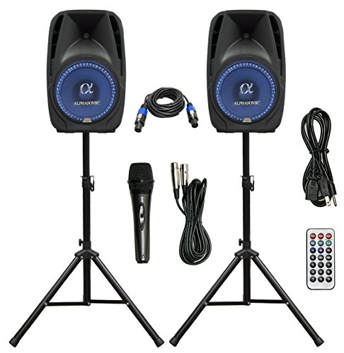 """Pair Alphasonik All-in-one 15"""" Powered 2500W PRO DJ Amplified Loud Speakers with Bluetooth USB SD Card AUX MP3 FM Radio PA System LED Lights Karaoke Mic Guitar Amp 2 Tripod Stands Cable and Microphone"""