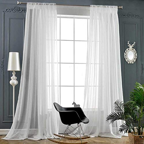 """White Sheer Curtains 84 Inch Length Rod Pocket Window Treatment Drapes Voile Panels for Living Room/Bedroom (2 Panels, 54""""x 84"""")"""