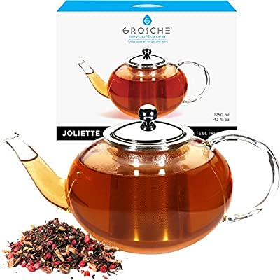 GROSCHE Joliette Glass Teapot with Stainless Steel Loose leaf tea Infuser 1250 ml / 42 fl. oz. for loose tea or blooming tea