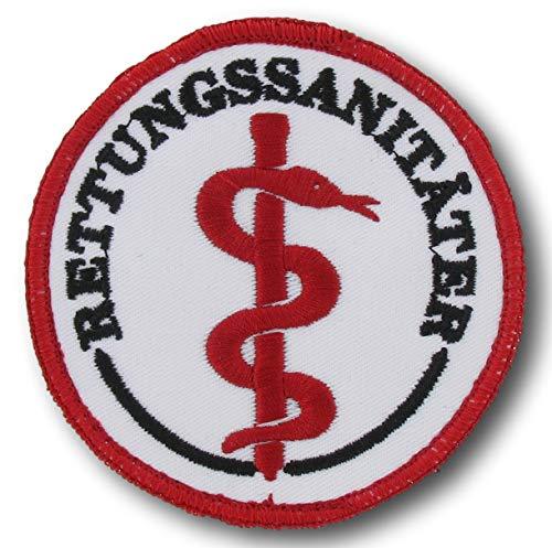 Emblem rund Äskulap/RETTUNGSSANITÄTER mit Klett