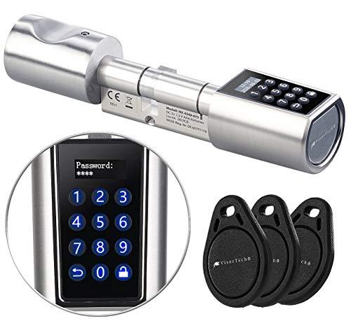 VisorTech Elektronisches Schloss: Elektronischer Tür-Schließzylinder, Transponder, Code, Bluetooth & App (Elektronisches Türschloss)