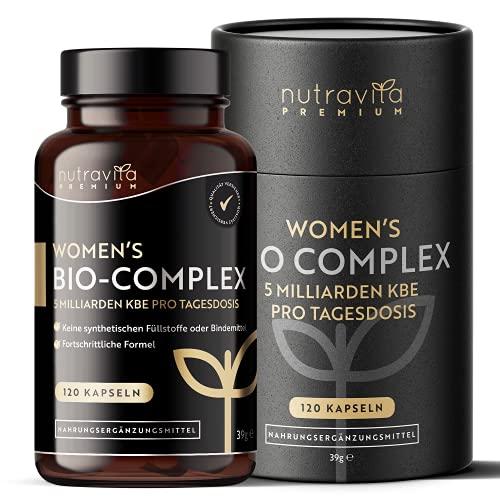 Premium Bio Kulturen Komplex Vegan für Frauen - 120 Kapseln (4 Monate Vorrat) - 5 aktive Lactobacillus-Bakterienstämme, speziell für Frauen entwickelt - 5 Milliarden KBE - Hergestellt von Nutravita
