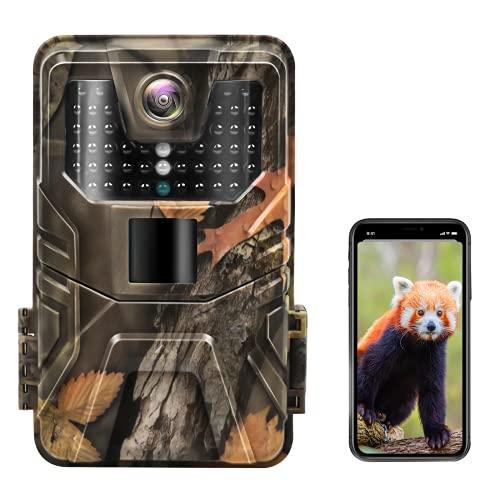 Hieha Wildkamera 4K 30MP H.265 HD Video, Wildtierkameras mit WLAN Bluetooth Handyübertragung, 0,2s Trigger Nachtsicht Bewegungsmelder, 120° Erfassungswinkel, IP66 Jagdkamera mit 64GB Speicherkarte