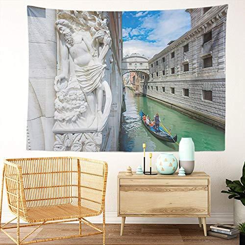 Y·JIANG Tapiz de paisaje urbano de Italia, góndola en Chanel y el puente susurro de Venecia, tapiz grande decorativo para el hogar, dormitorio, 203 x 152 cm