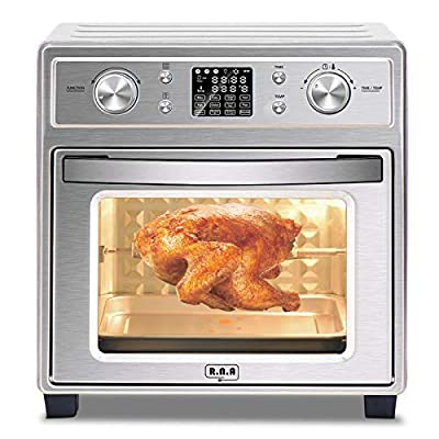 """R.N.A 19 QT XL Convection Oven Countertop w/Rotisserie & Dehydrator, Digital Display, Ultra Quiet, 7 Accessories & Cookbook Included, Stainless Steel, 14.4""""x10.5""""x15"""""""