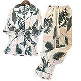 Damen Pyjama Set Seide Schlafanzug Nachthemd Frühling und Herbst Hose Strickjacke Hemd Robe...