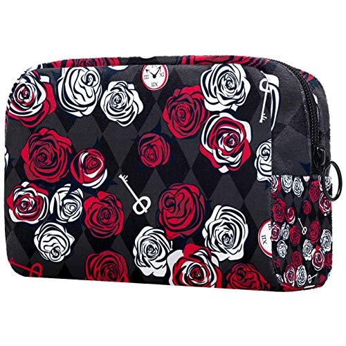 Bolsa de cosméticos para mujer, diseño de rosas rojas y blancas, llave y reloj en patrón de ajedrez, bolsas de maquillaje, accesorios organizador de regalos