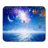 ゲーミングマウスパッド静かでヘブンリーカラフルな熱気球が飛んで青い星空の装飾オフィスコンピューターアクセサリー滑り止めラバーバッキングマウスパッドマウスマット