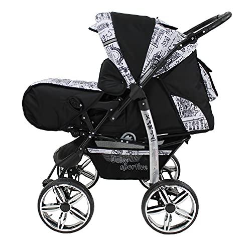 Kinderwagen Schwarz und City 3in1 mit Autositz Babyschale oder 2in1, Kombikinderwagen, Buggy, Sportwagen (2in1 ohne Babyschale)