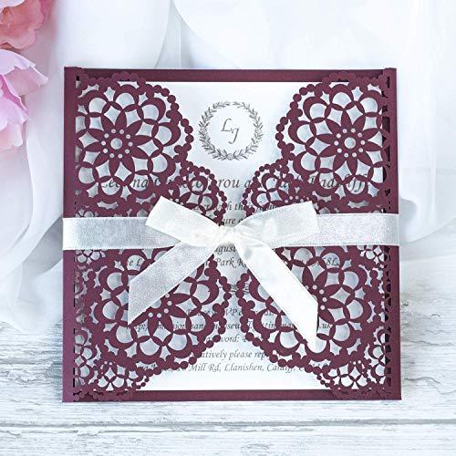 50 Stück mit Kuvert Lasergeschnittene Hochzeit Einladungskarten - mit Purpur Spitze - Hochzeitskarten hochzeitseinladungen selber basteln! :)