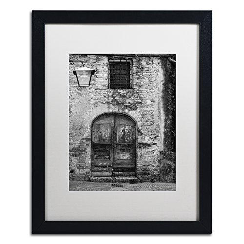 San Gimignano Door by Moises Levy in White Matte and Black Framed Artwork, 16 by 20""