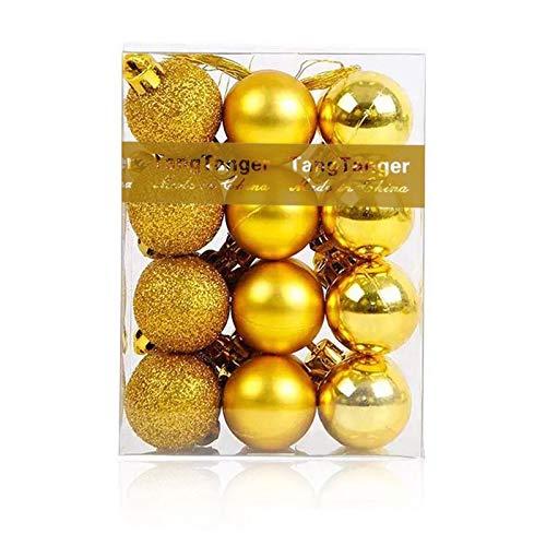 Christmas Ball Assorted Pendant Shatterproof Ball Ornament Set Seasonal Holiday Wedding Party Decorations(24 pcs, 3 cm) (Gold 01)