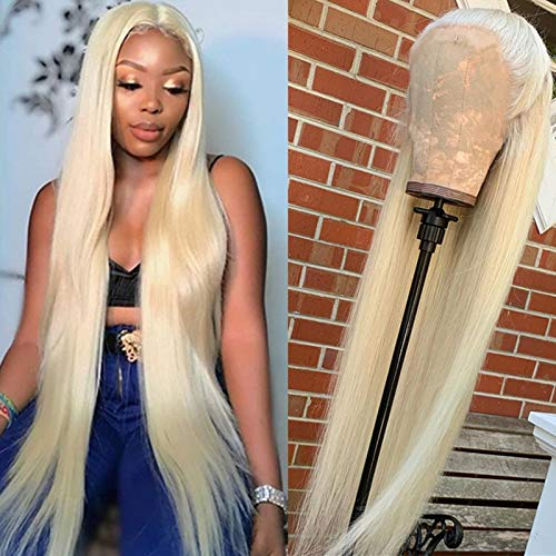 613 Blond Closure Wig 4x4 Straight Lace Front Wig Human Hair 30 inch,Aomllute Brazilian 613 Blond Lace Front Wigs Human Hair Pre Plucked 150% Density 613 Wigs for Black Women Human Hair