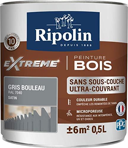 RIPOLIN - Peinture pour Bois Intérieur & Extérieur - Sans sous-couche - Couleur durable - Résiste aux intempéries, UV et chocs - Protège et Magnifie - Lessivable - Satin - 0,5L - Gris Bouleau