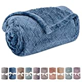 Baby Blanket or Pet Blanket, Comfy Soft Warm Blankets for Baby Girls and Boys, Dog and Cat, Plush Fleece Throw Blankets for Sofa, Couch, Travel and Camping (Grid 28' x 40', Ocean Blue)