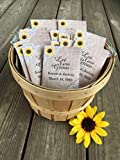 burlap and lace wedding seed packet favors with sunflowers (set of 50)